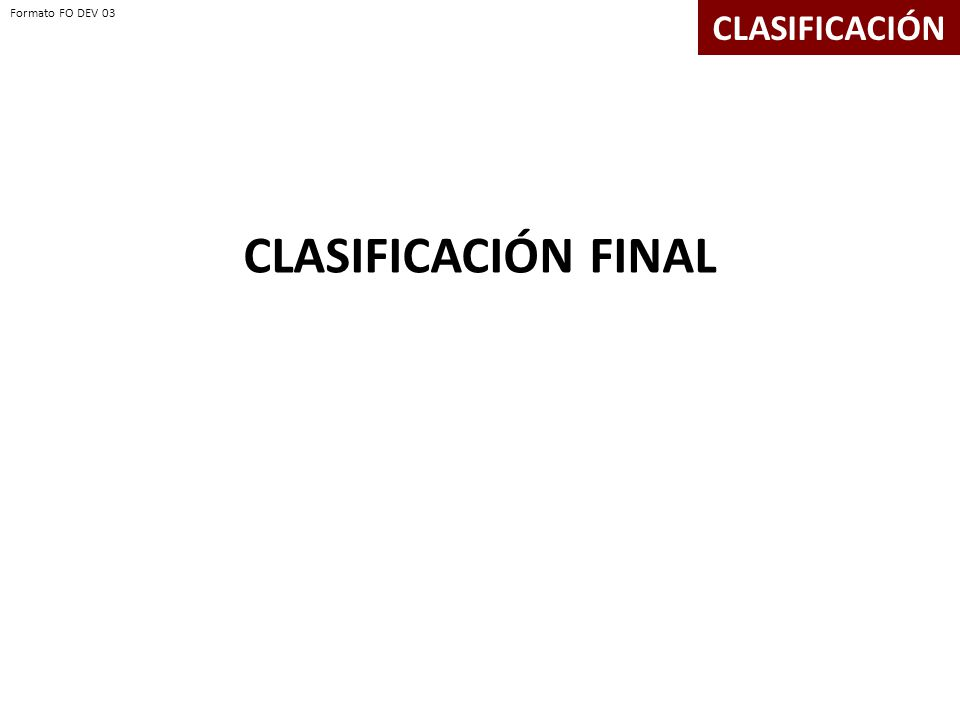 CLASIFICACIÓN FINAL CLASIFICACIÓN Formato FO DEV 03 Formato FO DEV 03