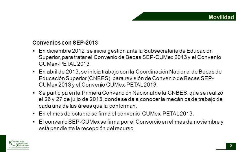 En el mes de octubre se firma el convenio CUMex-PETAL 2013.