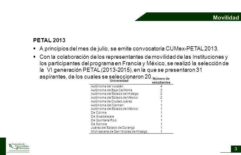 A principios del mes de julio, se emite convocatoria CUMex-PETAL 2013.