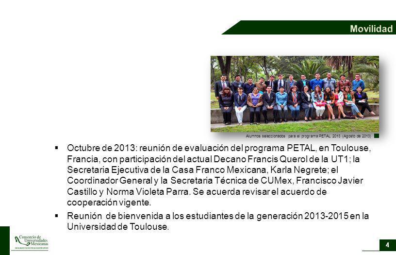 Movilidad Alumnos seleccionados para el programa PETAL 2013 (Agosto de 2013)