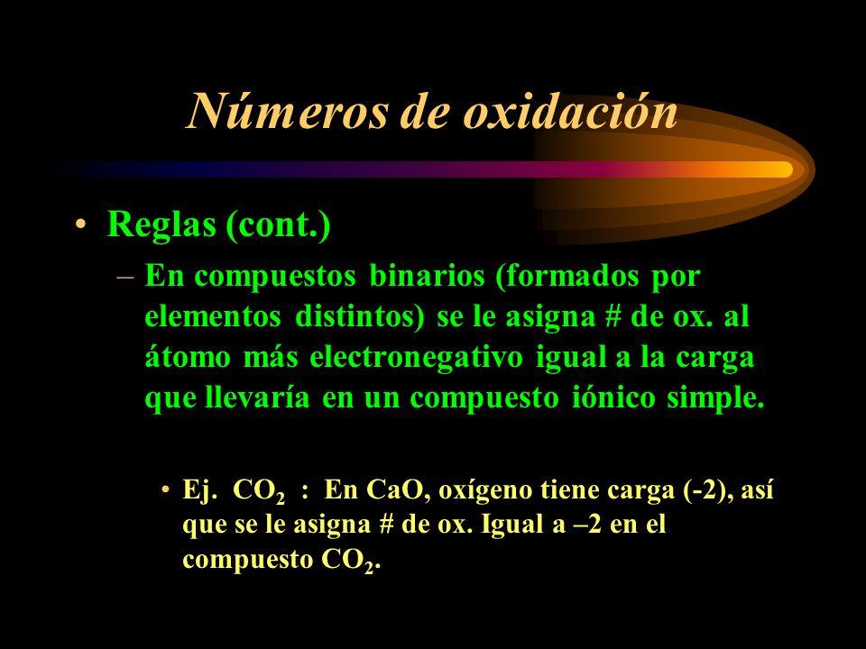 Números de oxidación Reglas (cont.)