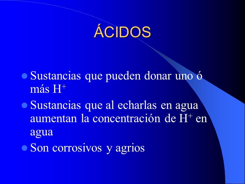 ÁCIDOS Sustancias que pueden donar uno ó más H+