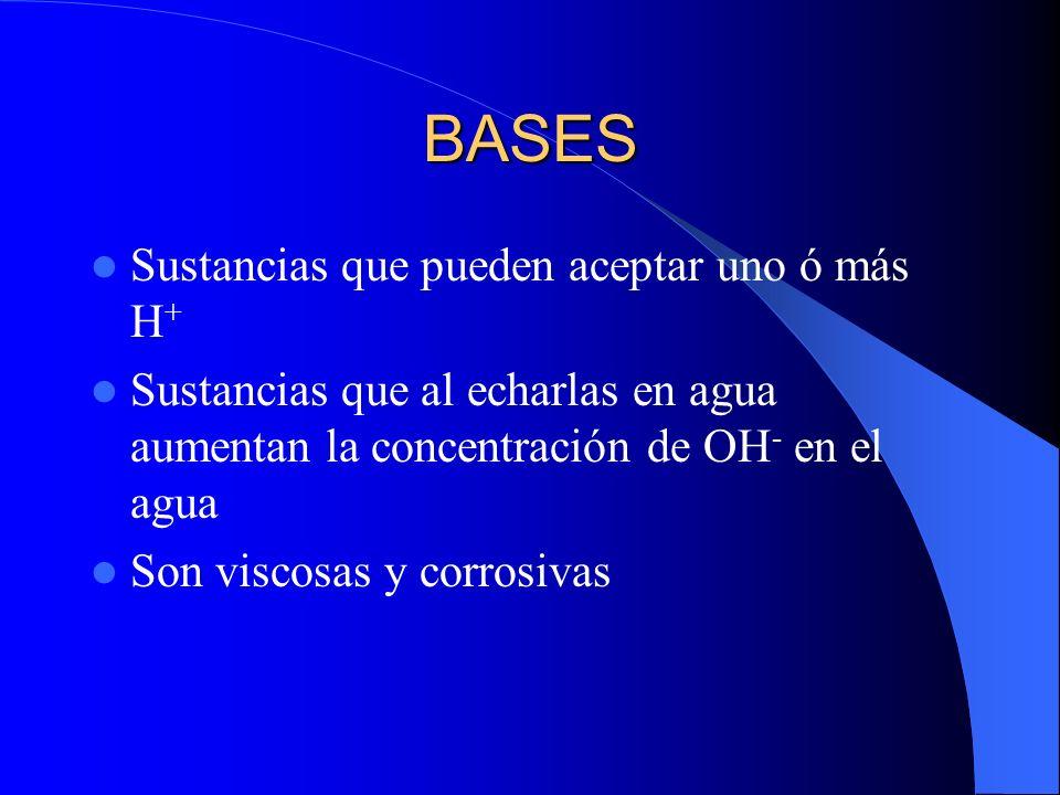 BASES Sustancias que pueden aceptar uno ó más H+