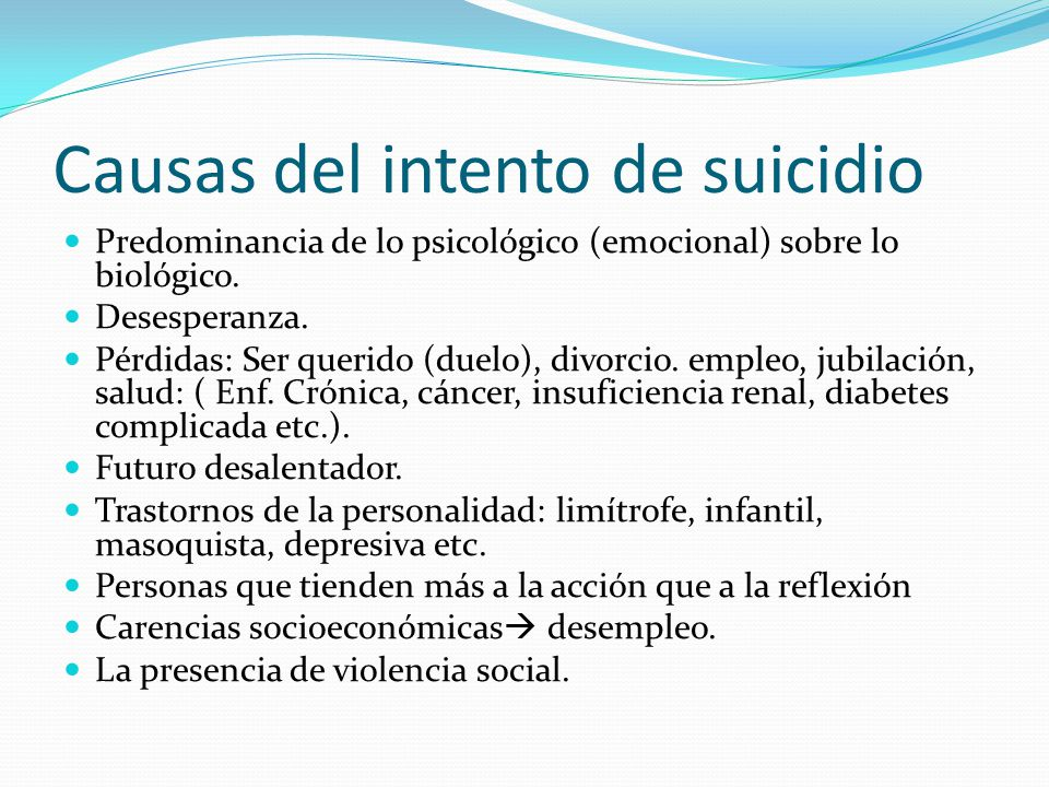 Causas del intento de suicidio