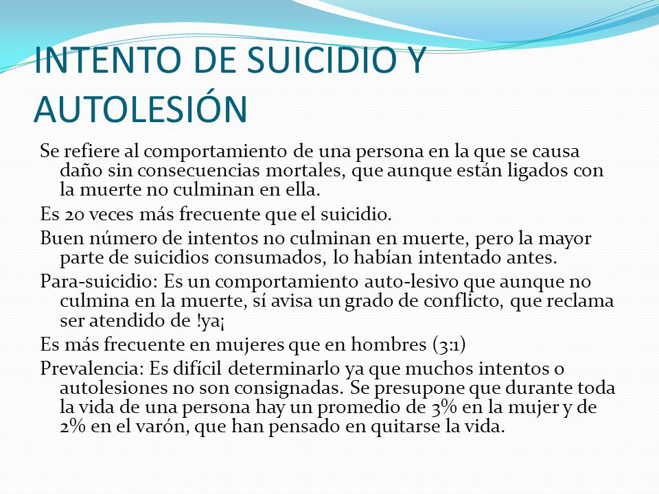 INTENTO DE SUICIDIO Y AUTOLESIÓN