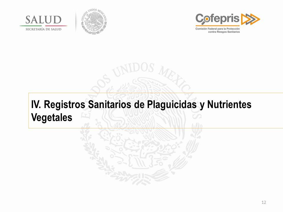 IV. Registros Sanitarios de Plaguicidas y Nutrientes Vegetales