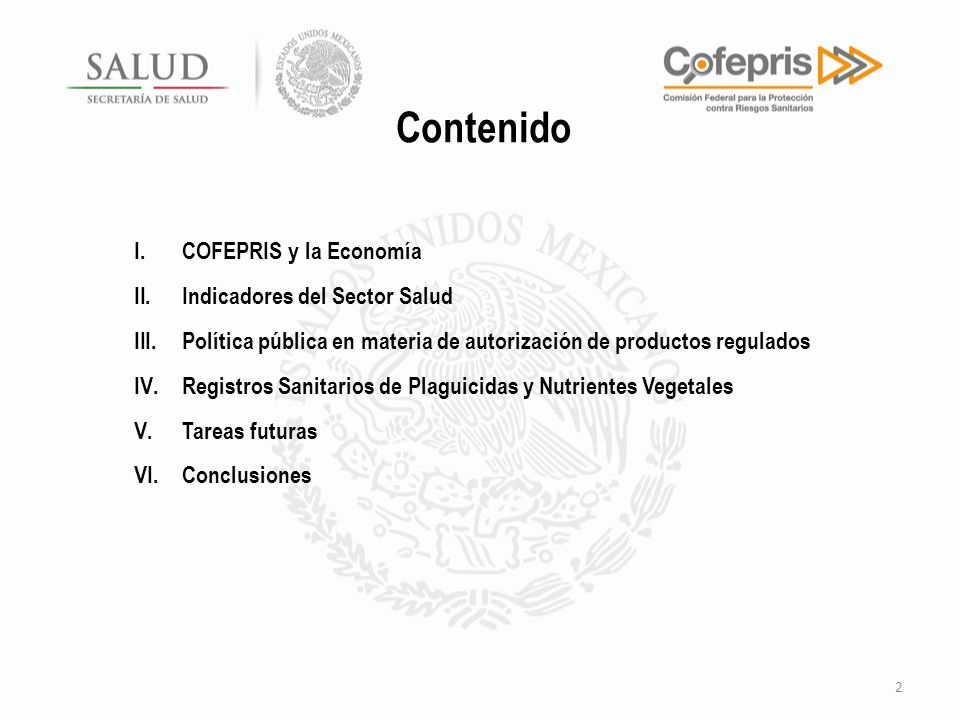 Contenido COFEPRIS y la Economía Indicadores del Sector Salud