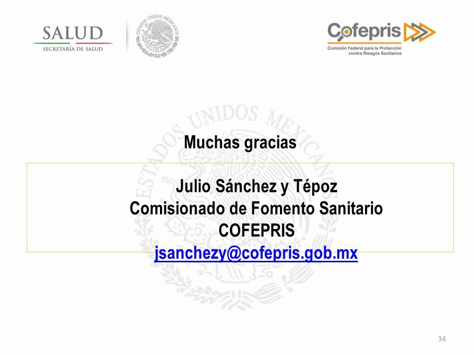 Muchas gracias Julio Sánchez y Tépoz Comisionado de Fomento Sanitario COFEPRIS jsanchezy@cofepris.gob.mx