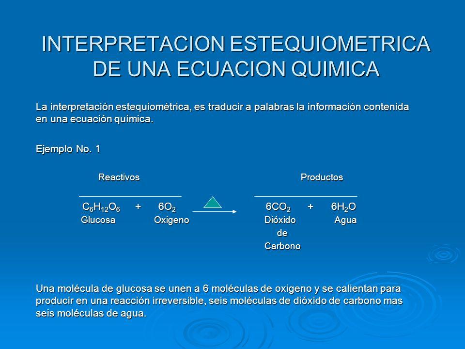INTERPRETACION ESTEQUIOMETRICA DE UNA ECUACION QUIMICA