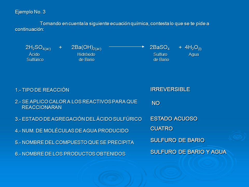 IRREVERSIBLE NO ESTADO ACUOSO CUATRO SULFURO DE BARIO