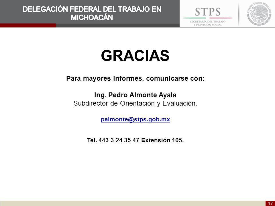 Para mayores informes, comunicarse con: Ing. Pedro Almonte Ayala