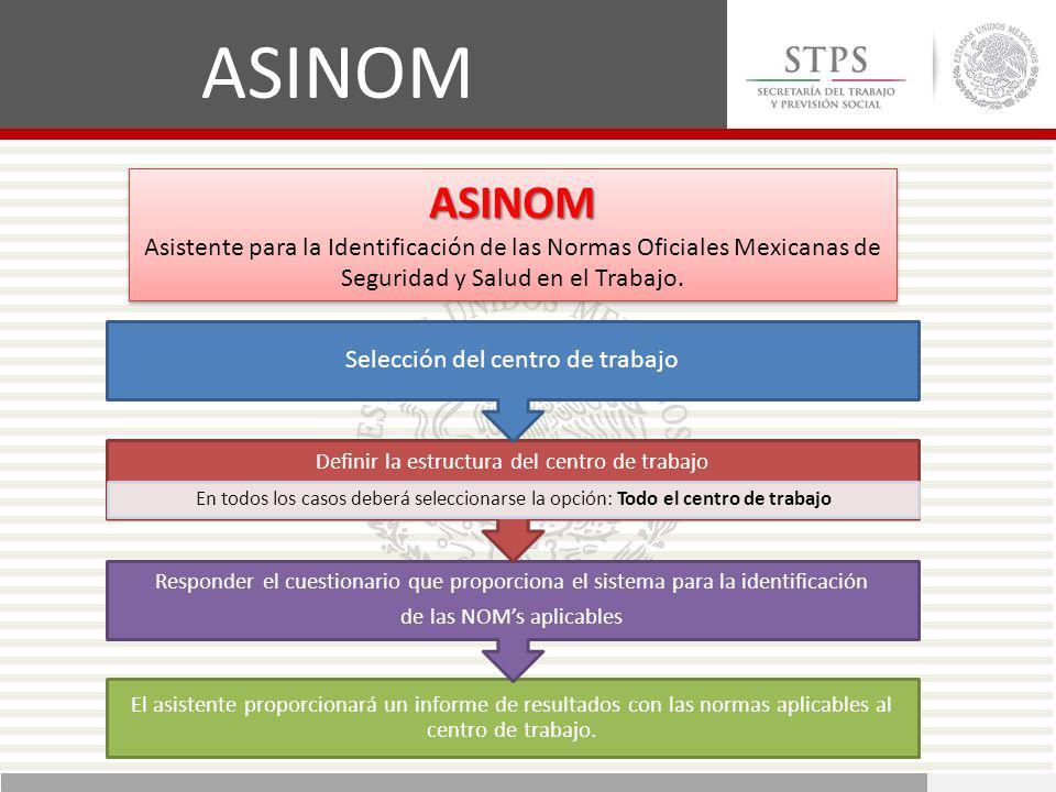 ASINOM ASINOM Selección del centro de trabajo