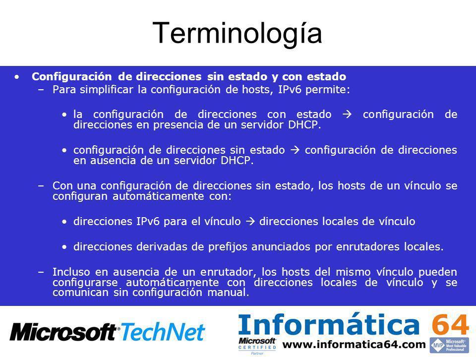 Terminología Configuración de direcciones sin estado y con estado