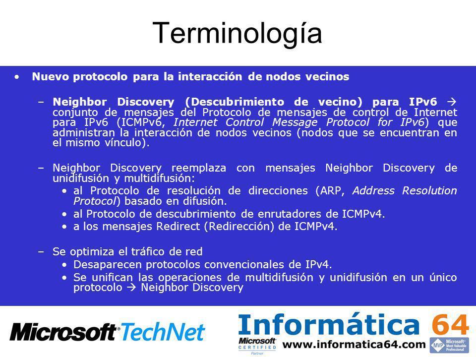 Terminología Nuevo protocolo para la interacción de nodos vecinos