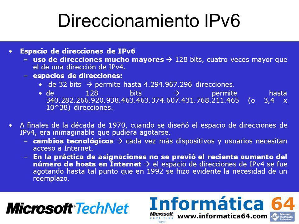 Direccionamiento IPv6 Espacio de direcciones de IPv6