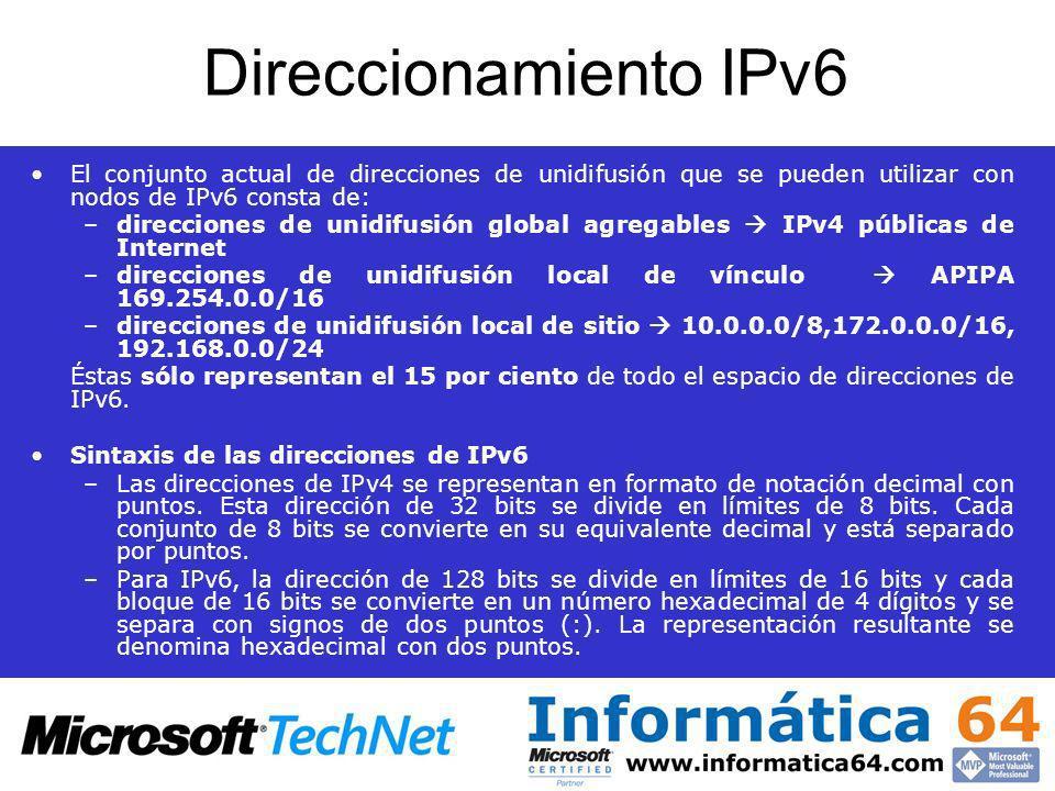Direccionamiento IPv6 El conjunto actual de direcciones de unidifusión que se pueden utilizar con nodos de IPv6 consta de: