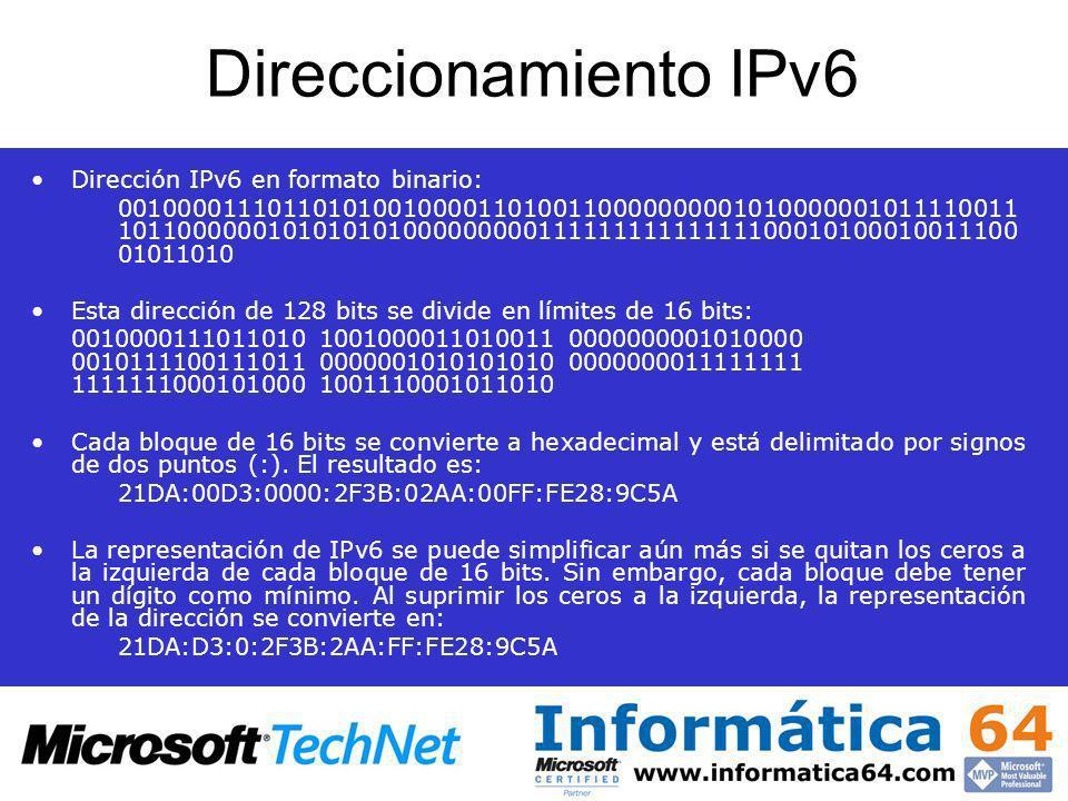 Direccionamiento IPv6 Dirección IPv6 en formato binario: