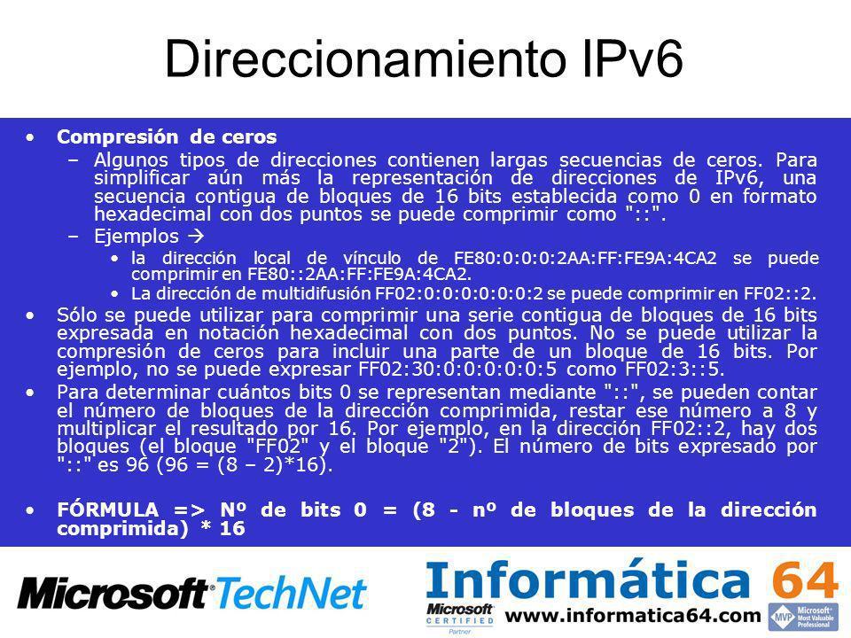 Direccionamiento IPv6 Compresión de ceros