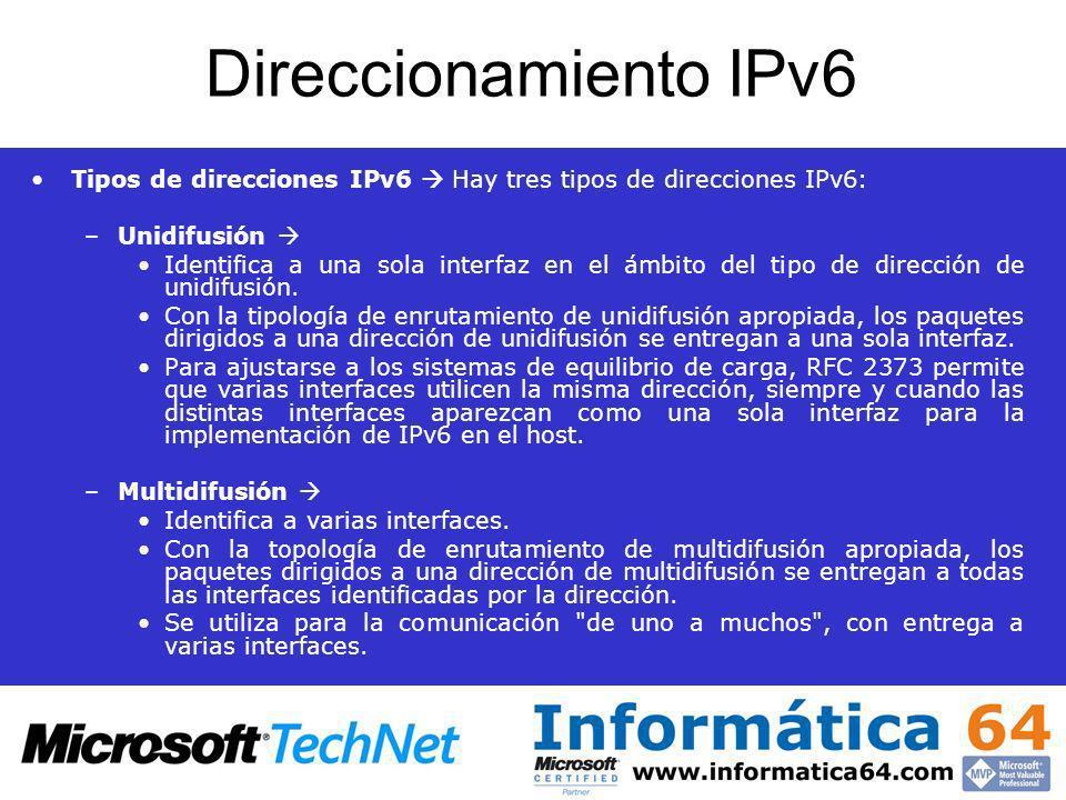 Direccionamiento IPv6 Tipos de direcciones IPv6  Hay tres tipos de direcciones IPv6: Unidifusión 