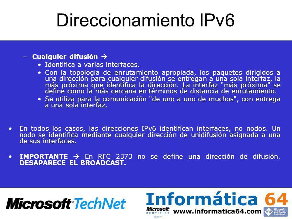 Direccionamiento IPv6 Cualquier difusión 
