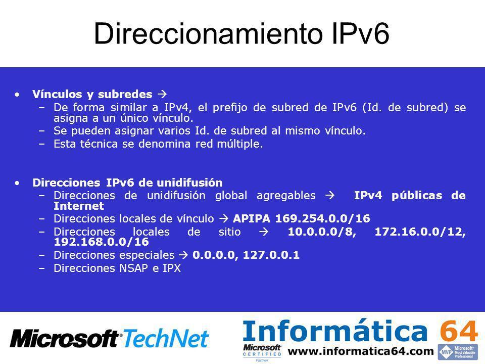 Direccionamiento IPv6 Vínculos y subredes 