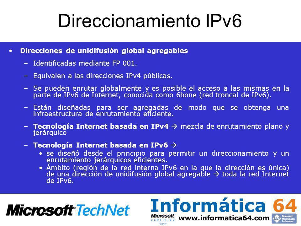 Direccionamiento IPv6 Direcciones de unidifusión global agregables