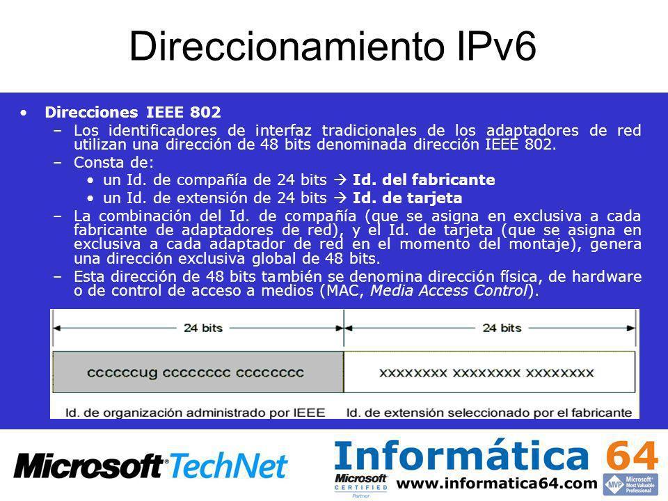 Direccionamiento IPv6 Direcciones IEEE 802