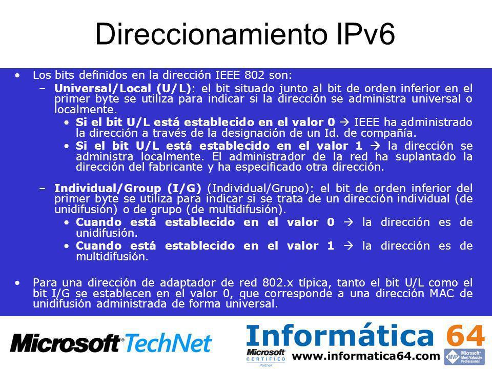 Direccionamiento IPv6 Los bits definidos en la dirección IEEE 802 son: