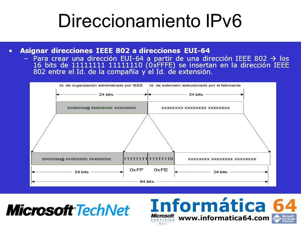 Direccionamiento IPv6 Asignar direcciones IEEE 802 a direcciones EUI-64.