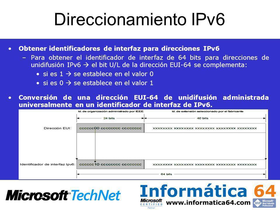 Direccionamiento IPv6 Obtener identificadores de interfaz para direcciones IPv6.
