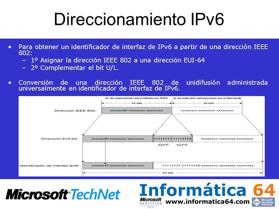 Direccionamiento IPv6 Para obtener un identificador de interfaz de IPv6 a partir de una dirección IEEE 802: