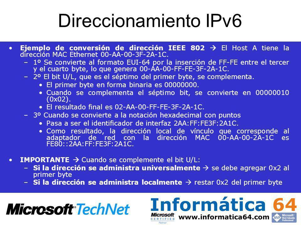 Direccionamiento IPv6 Ejemplo de conversión de dirección IEEE 802  El Host A tiene la dirección MAC Ethernet 00-AA-00-3F-2A-1C.