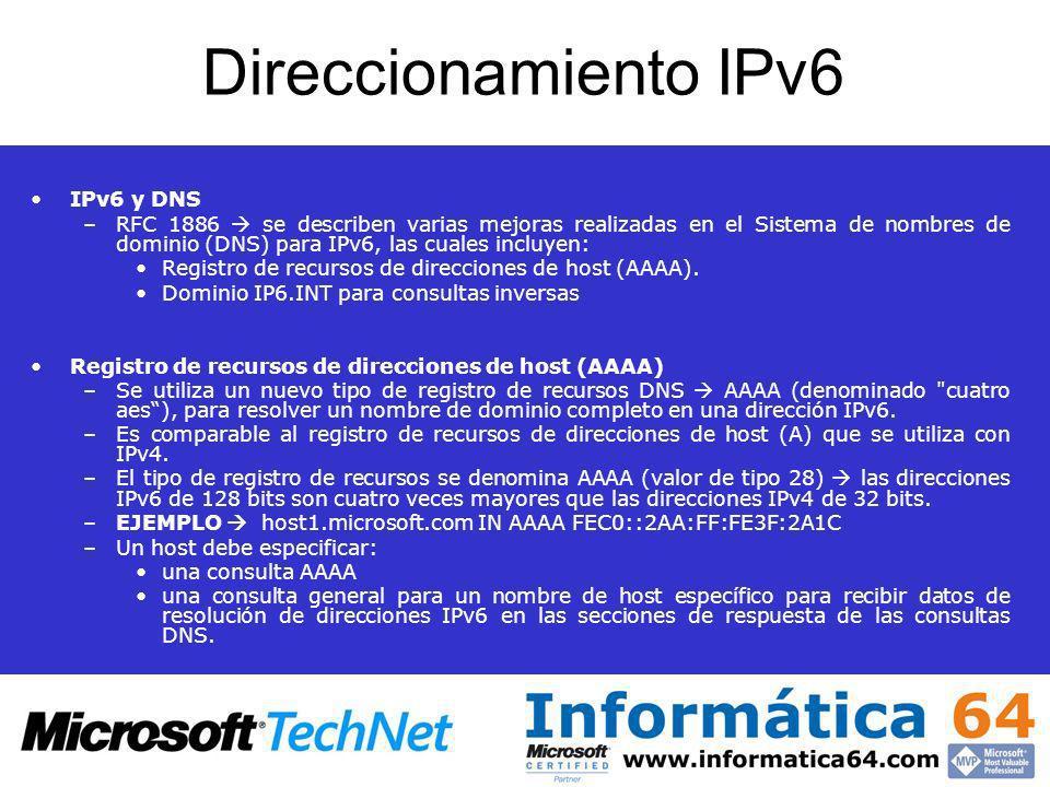 Direccionamiento IPv6 IPv6 y DNS