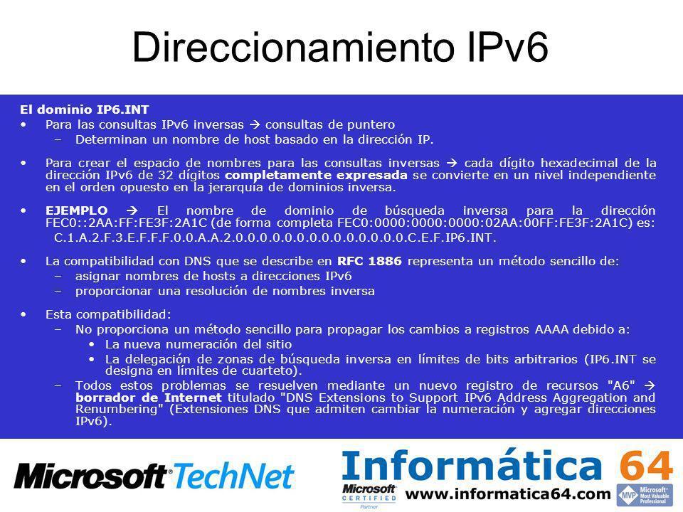 Direccionamiento IPv6 El dominio IP6.INT