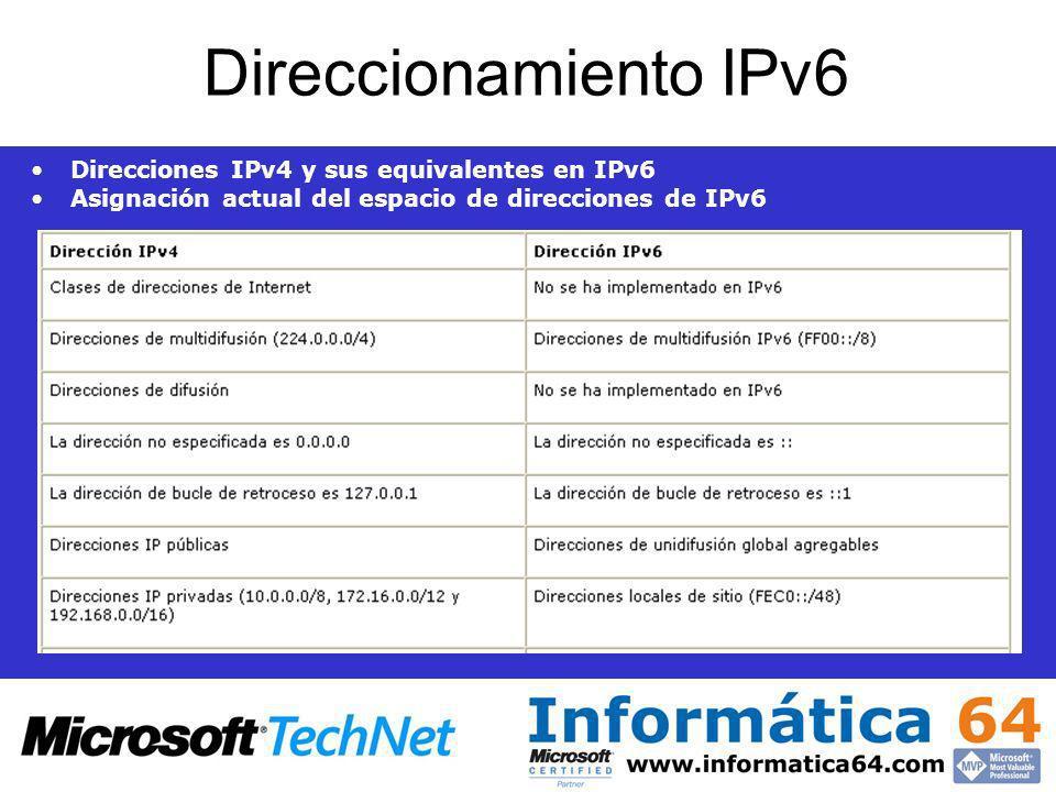 Direccionamiento IPv6 Direcciones IPv4 y sus equivalentes en IPv6