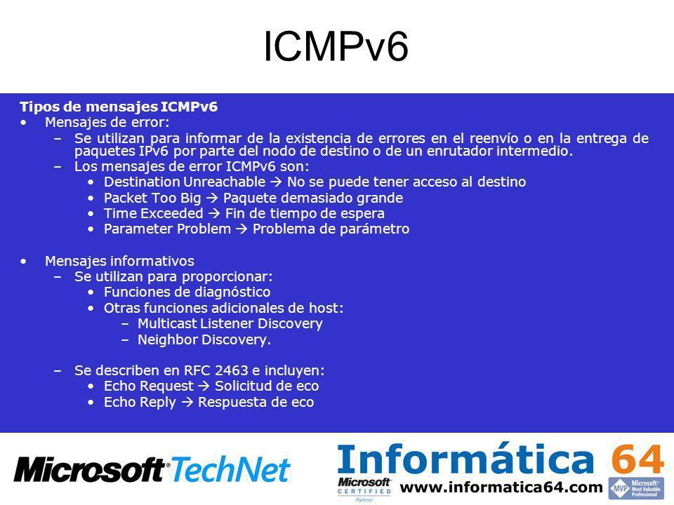 ICMPv6 Tipos de mensajes ICMPv6 Mensajes de error: