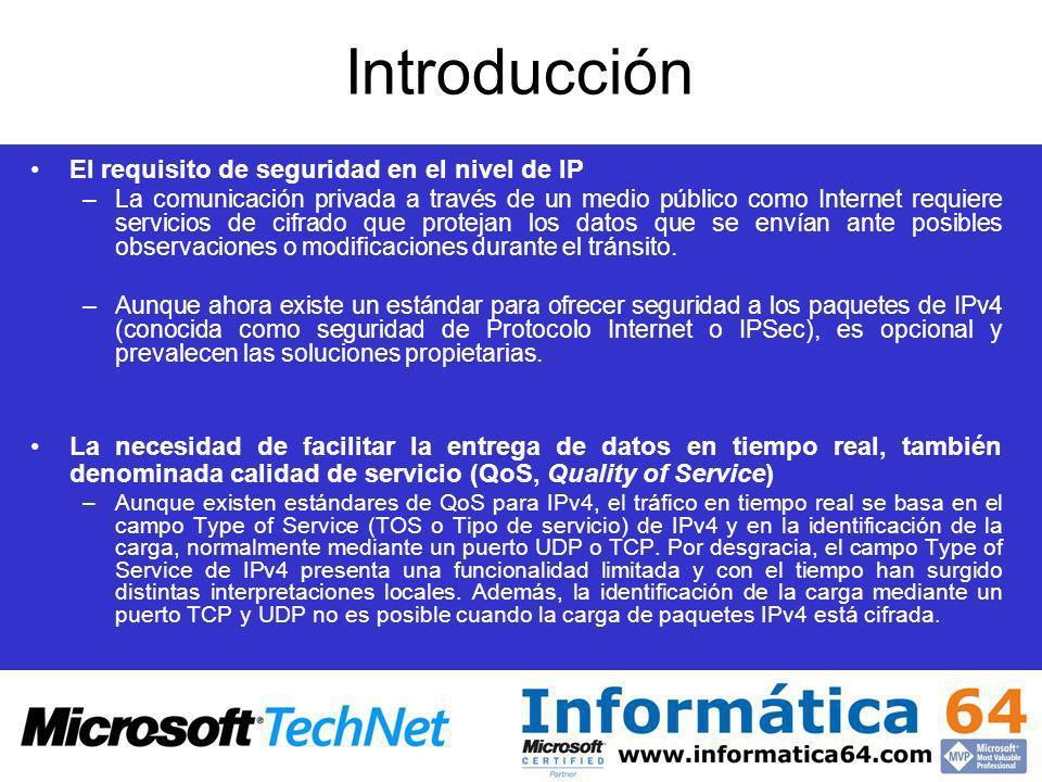 Introducción El requisito de seguridad en el nivel de IP