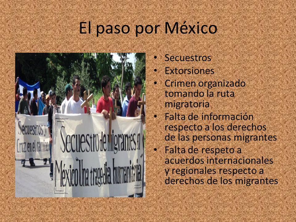 El paso por México Secuestros Extorsiones