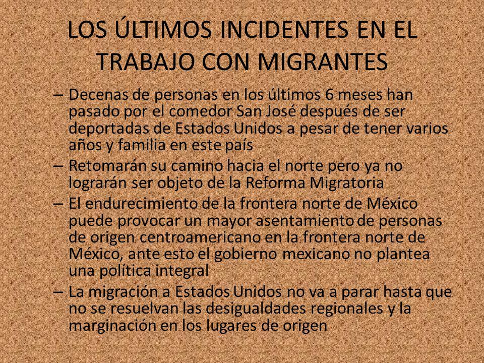 LOS ÚLTIMOS INCIDENTES EN EL TRABAJO CON MIGRANTES