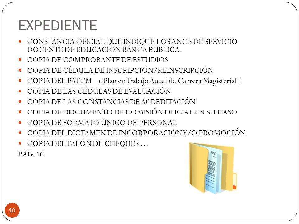 EXPEDIENTE CONSTANCIA OFICIAL QUE INDIQUE LOS AÑOS DE SERVICIO DOCENTE DE EDUCACION BÁSICA PUBLICA.