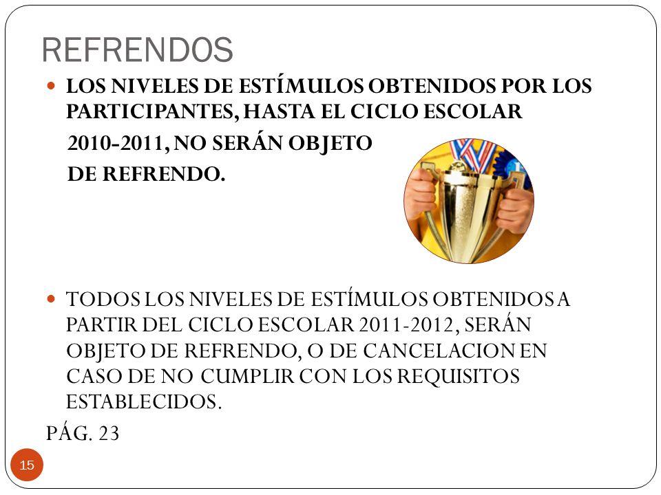 REFRENDOS LOS NIVELES DE ESTÍMULOS OBTENIDOS POR LOS PARTICIPANTES, HASTA EL CICLO ESCOLAR. 2010-2011, NO SERÁN OBJETO.