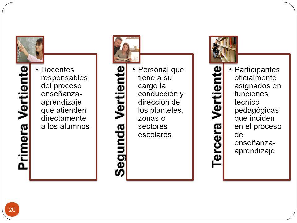 Primera Vertiente Docentes responsables del proceso enseñanza-aprendizaje que atienden directamente a los alumnos.