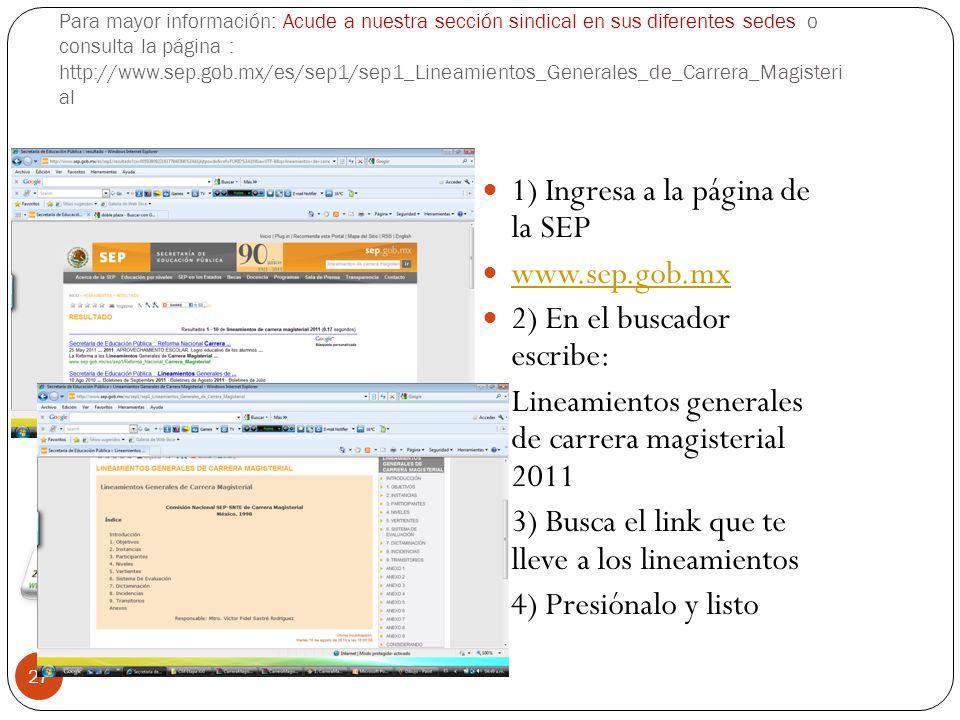 1) Ingresa a la página de la SEP www.sep.gob.mx