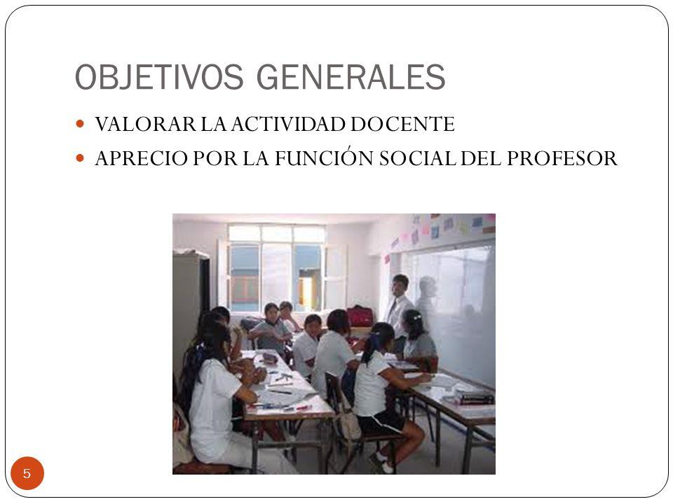 OBJETIVOS GENERALES VALORAR LA ACTIVIDAD DOCENTE
