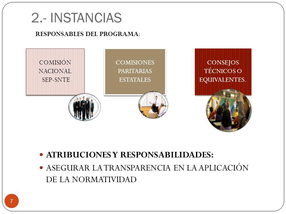 2.- INSTANCIAS ATRIBUCIONES Y RESPONSABILIDADES: