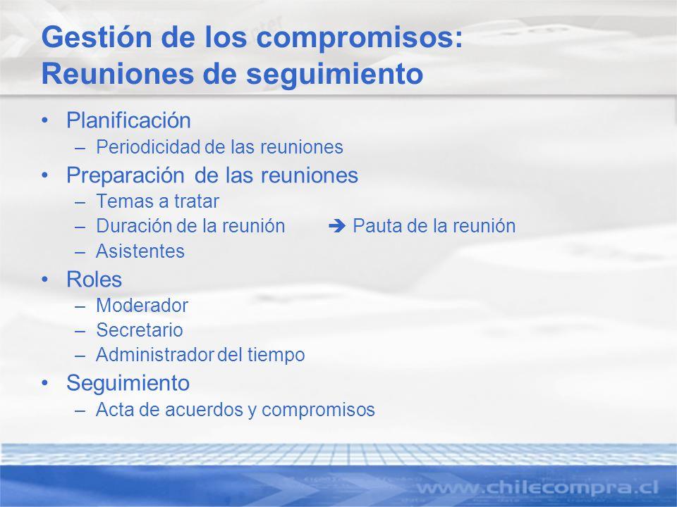 Gestión de los compromisos: Reuniones de seguimiento
