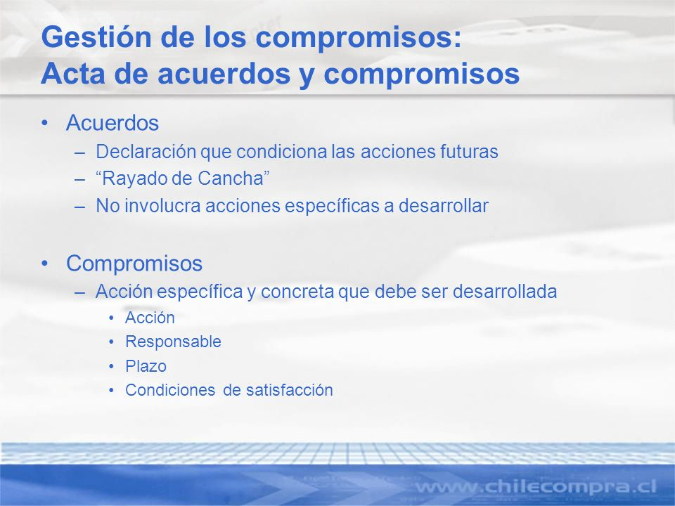 Gestión de los compromisos: Acta de acuerdos y compromisos