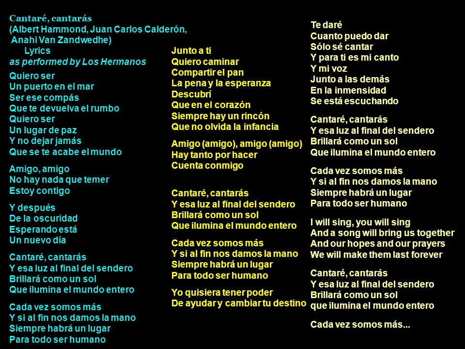 Cantaré, cantarás (Albert Hammond, Juan Carlos Calderón, Anahi Van Zandwedhe) Lyrics. as performed by Los Hermanos.