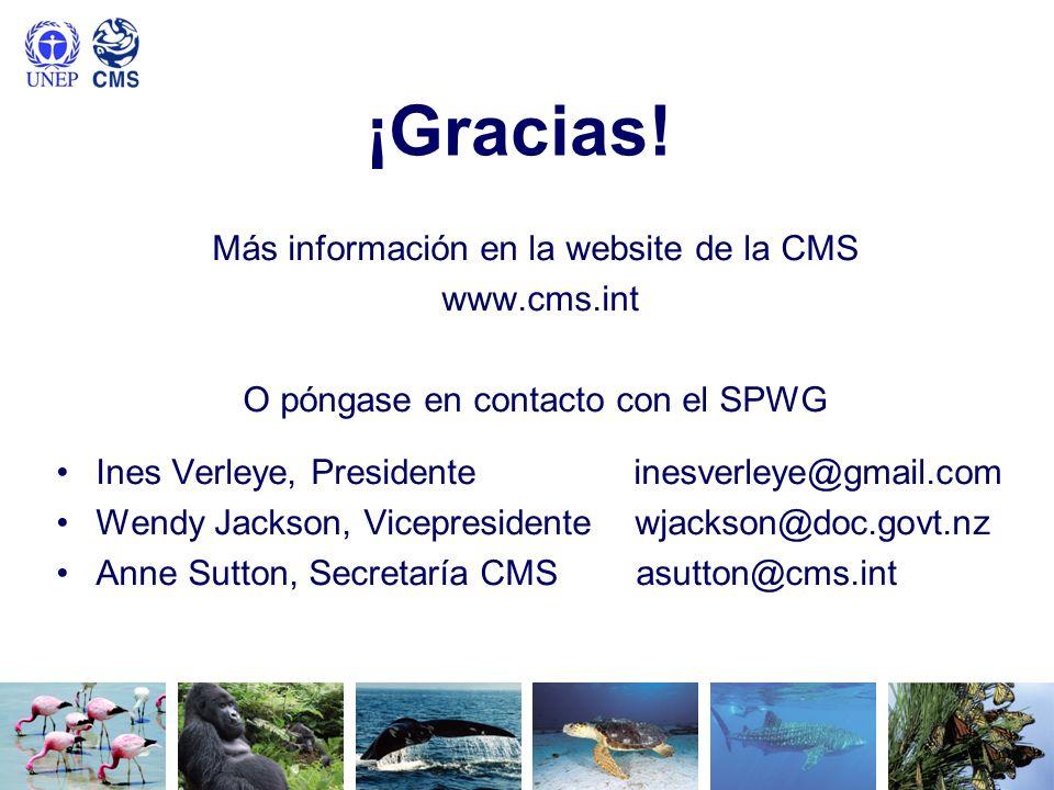¡Gracias! Más información en la website de la CMS www.cms.int