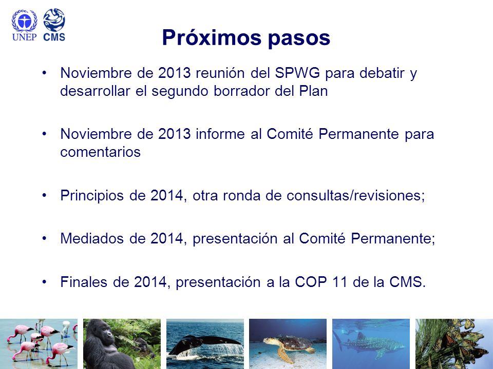 Próximos pasosNoviembre de 2013 reunión del SPWG para debatir y desarrollar el segundo borrador del Plan.